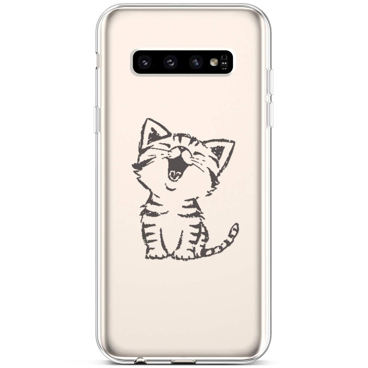Hpory Housse Compatible avec Samsung Galaxy S10 Coque Silicone Flexible Transparent Ultra Fine TPU Silicone Bumper Case Antichoc Étui Crystal Clear Mince Soft Cover,Dinosaure Vert