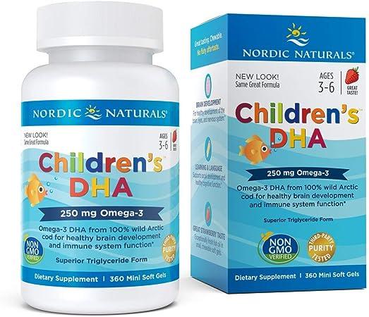 Nordic Naturals Dha Para Niños, 250 Mg De Fresa - 360 Cápsulas Blandas 360 Unidades 200 g: Amazon.es: Salud y cuidado personal
