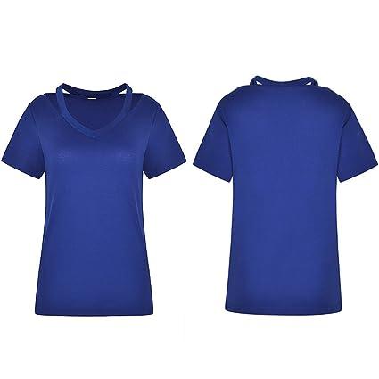 ❤ Blusa Ahueca hacia Fuera de Las Mujeres, Casual sólido Cuello Redondo Hollow out Manga Corta Camiseta Top Blusa: Amazon.es: Ropa y accesorios