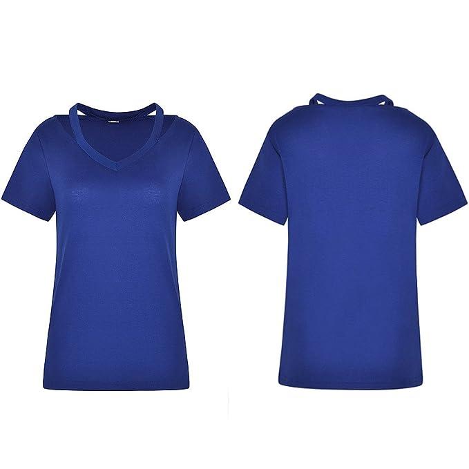 ❤ Blusa Ahueca hacia Fuera de Las Mujeres,Casual sólido Cuello Redondo Hollow out Manga Corta Camiseta Top Blusa: Amazon.es: Ropa y accesorios
