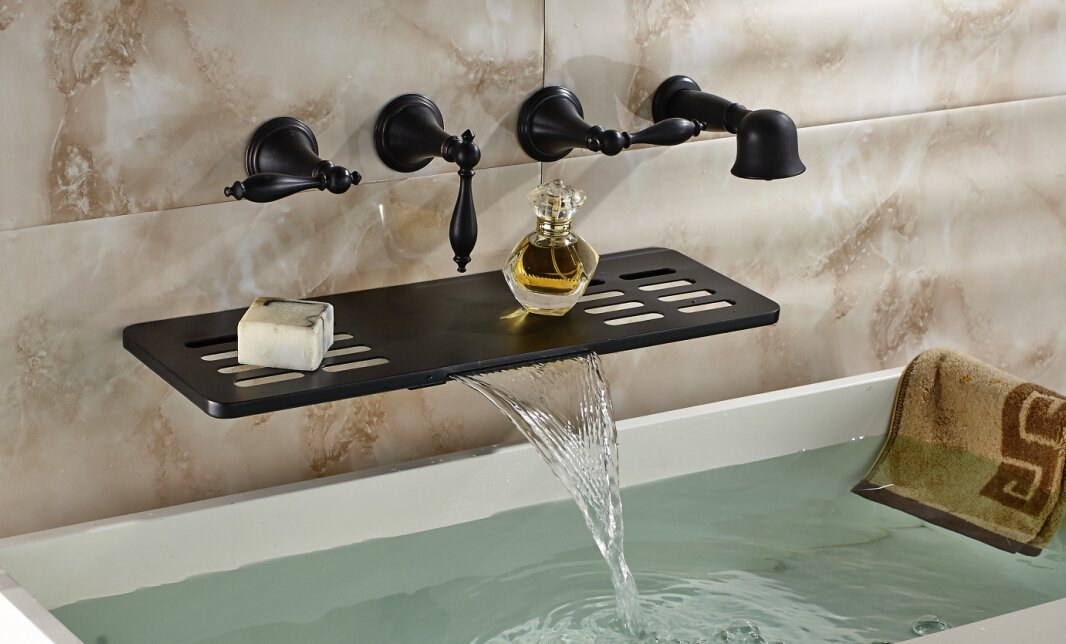 Oulantron Creative Design Wall Mount Bathtub Mixer Faucet Waterfall ...