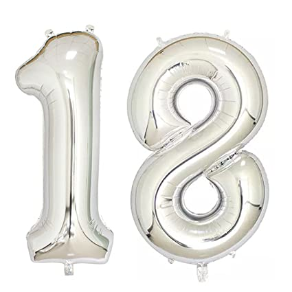 Amazon 40inch Silver Foil 18 Helium Jumbo Digital Number