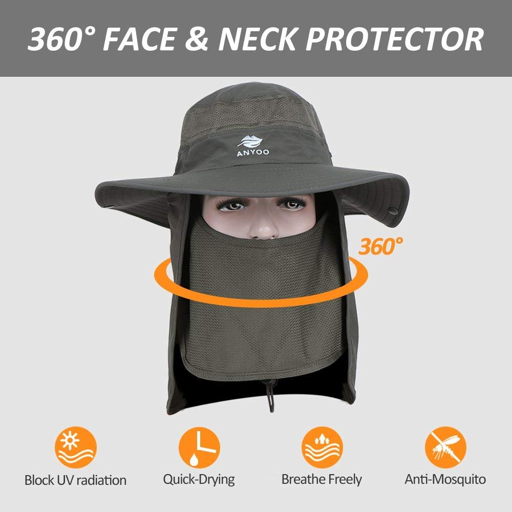 Anyoo Casquettes dext/érieur avec Protection Contre Le Soleil d/ét/é /à Large Bord Respirant