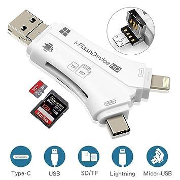 Adaptador lector de tarjetas Micro SD/TF, 4 en 1, lector de tarjetas Micro SD con Lightning, conector USB del tipo C, lectores de memoria TF Flash, ...
