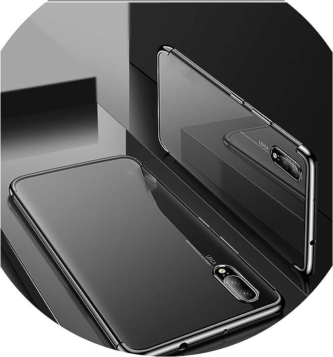 Felfy Vidrio Templado Funda Compatible con Huawei P20 Pro,Carcasa Compatible con Huawei P20 Pro Gllitter Funda Trasera Cubierta Vidrio Templado Patr/ón Colores TPU Estuche Silicona Anti-Scratch Funda