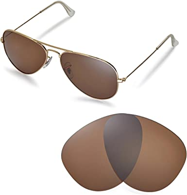 Walleva Replacement Lenses for Ray-Ban Aviator Large Metal RB3025 58mm  Sunglasses - Multiple Options (Brown - Polirazed): Amazon.co.uk: Clothing