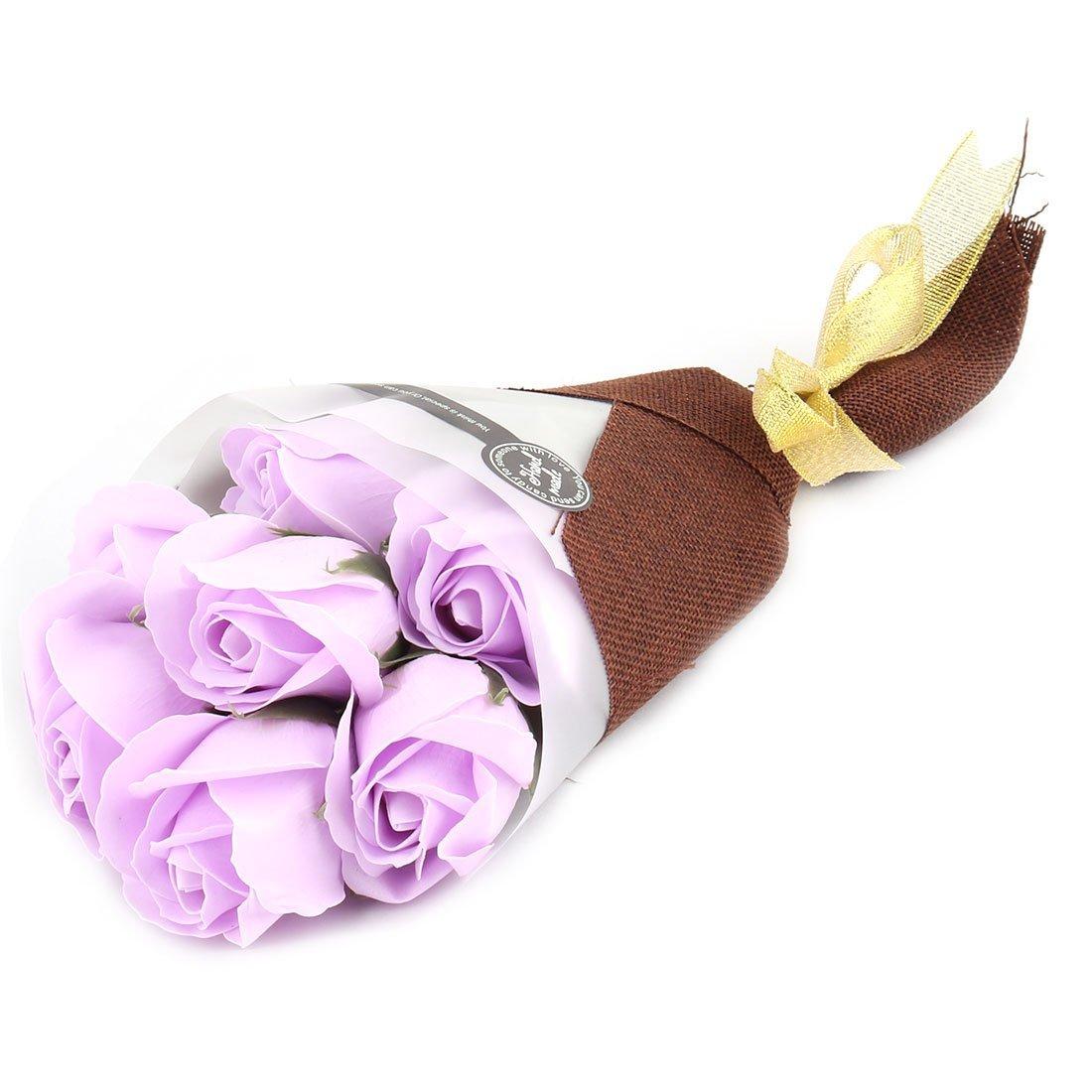 Amazon.com: eDealMax Regalo de cumpleaños artificiales de Rose Floral de Lavado de baño de jabón ramo de Flores púrpura de luz 7pcs: Home & Kitchen