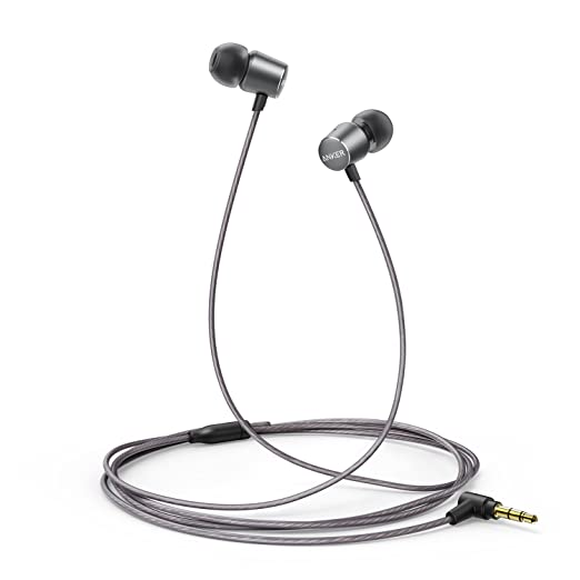 Review Anker SoundBuds Verve Wired Headphones, 10 mm Composite Drivers and Powerful Bass, In-Ear Stereo Earphones with Durable Cable over 15,000 Bends and Carry Pouch (Gray)