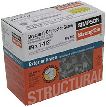 Simpson Structural Screws SD9112R100 No.9 by 1-1//2-Inch Structural-Connector