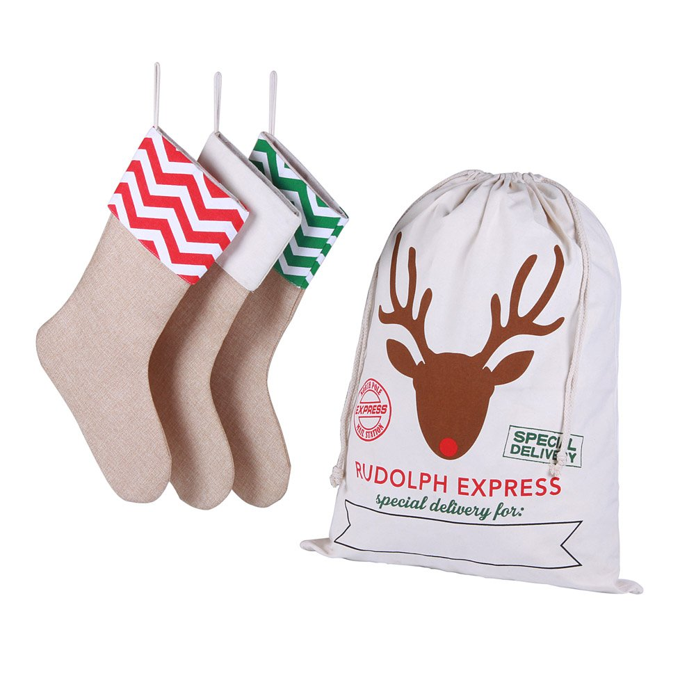 3 Pack Natural Burlap Christmas Stockings for Classic Holiday Decoration and Gift Holder, with 1 Pcs Personalized Jumbo Santa Bag (4 Pack)