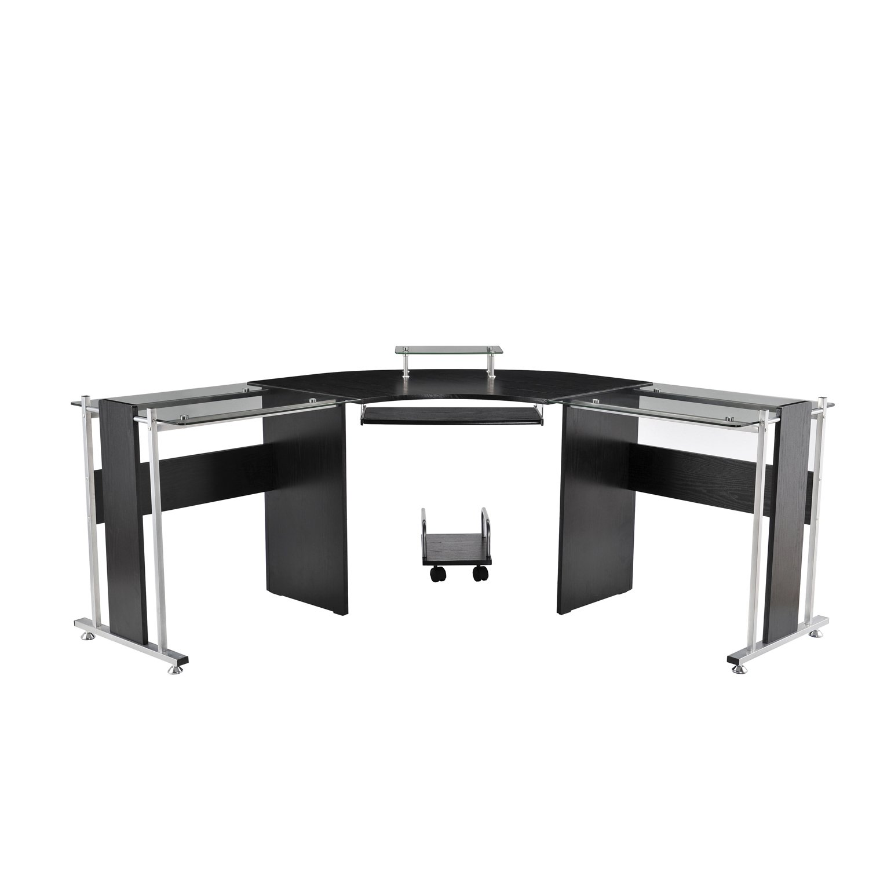 HomCom 69'' Modern L-Shaped Symmetrical Smoked Glasstop Office Computer Desk