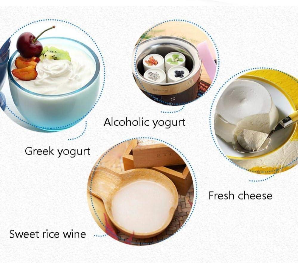 Xiaoyue Micro-Ordinateurs grecs Yaourti/ère Quatre Tasses de Riz Multifonctions for vin//Yaourt//Fromage 20W Liner en Acier Inoxydable lalay