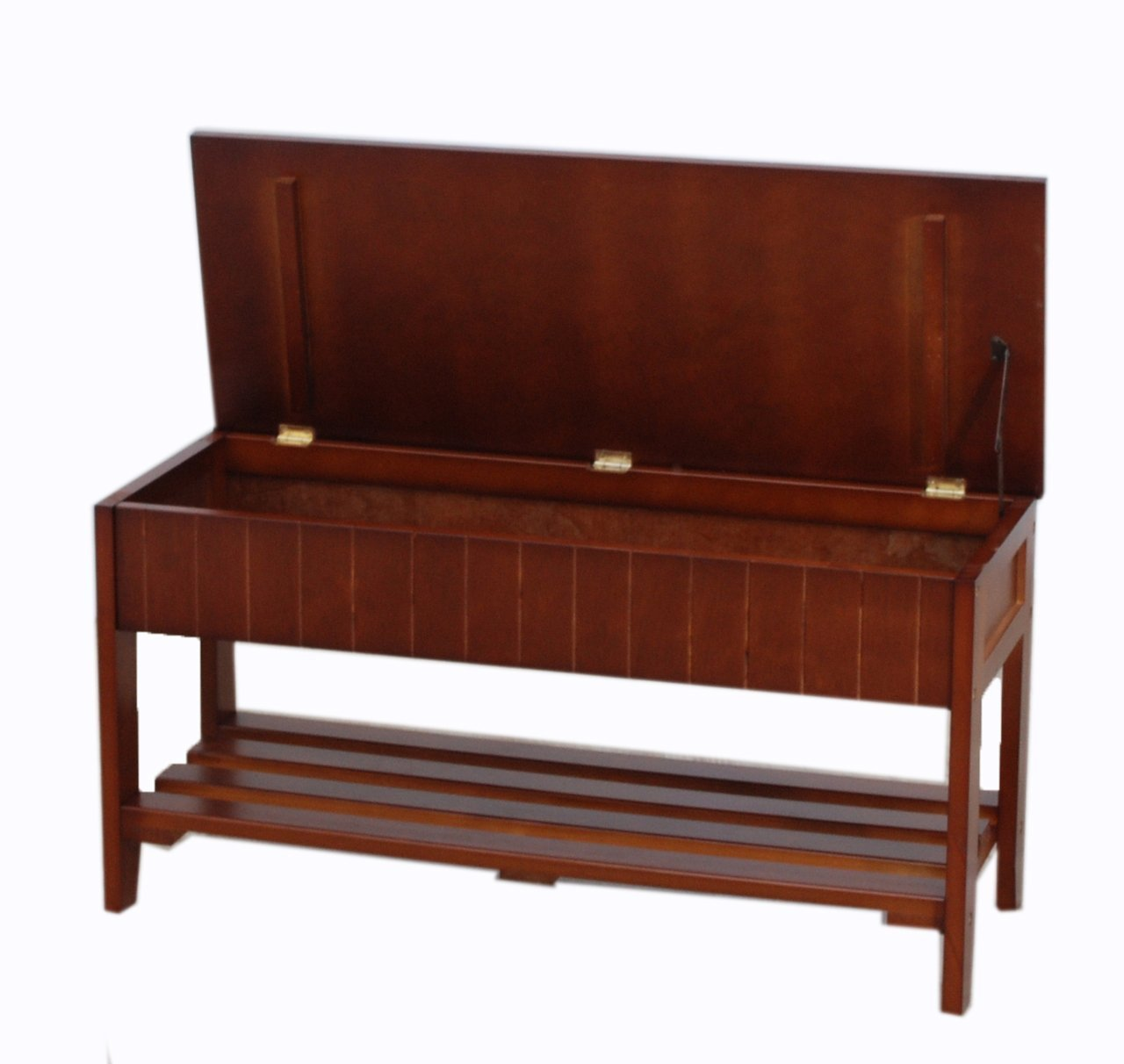 Legacy Decor Solid Wood Shoe Bench Rack with Storage, White and Walnut Color (Walnut)