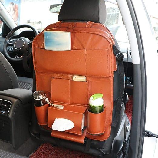 Car Back Seat Organizer Drink Hanging Holder Bag Storage Multi-Pocket PU Leather