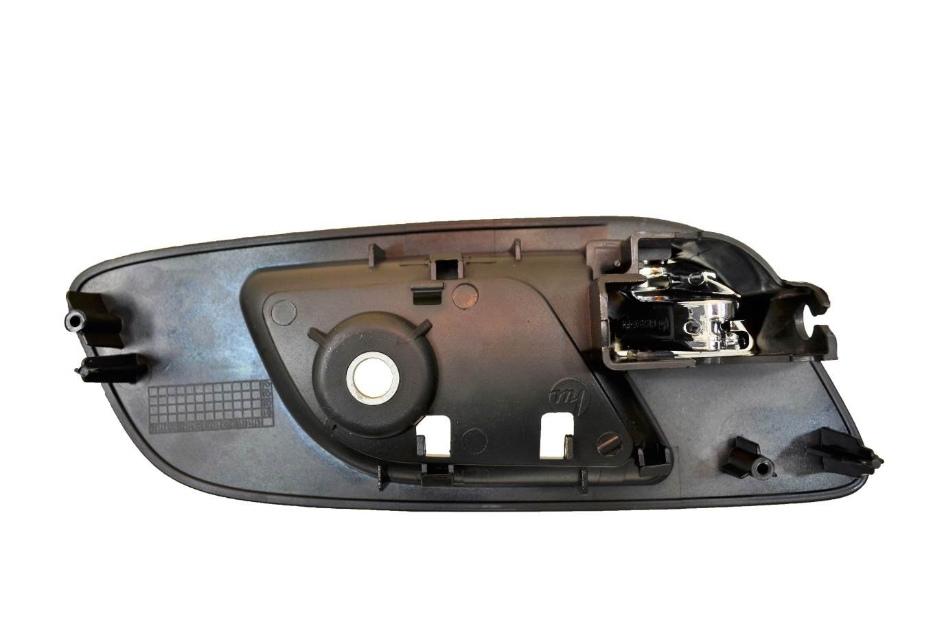 Driver Side Front Housing with Chrome Lever Inner Interior Inside Door Handle Ebony with Memory//Heated Seat Hole; Passenger Side Front without Hole Black PT Auto Warehouse GM-2546MAFPK2