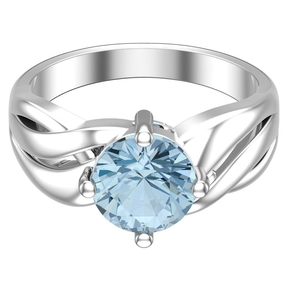 Belinda Jewelz Real Solid 925 Sterling Silver Twisted Band Round Sparkling Gemstone Prong Rhodium Plated Birthstone Engagement Wedding Classic Womens Fine Jewelry Ring Rings, Sky Blue Topaz, Size 8 by Belinda Jewelz (Image #5)