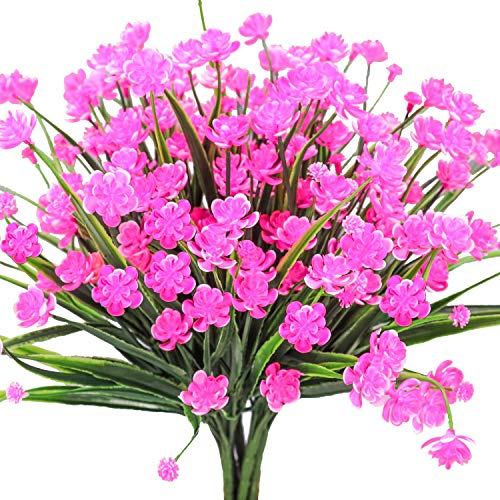 E-HAND Artificial Daffodils Flowers,Fake Plant Outdoor Faux Pink Flora Greenery Bushes Fence Indoor Outside Decor