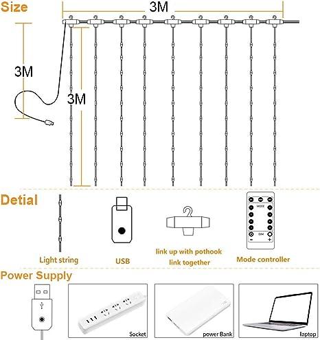 Mariage Decoration de Fen/être No/ël Maison Patio Anniversaire Guirlande Lumineuse Rideau Zorara Rideau Lumineux USB 300 LED 3m*3m 8 Modes dEclairage Blanc Chaud Etanche IP65