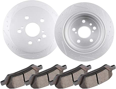 Front Brake Disc Rotors and Ceramic Pads For Toyota Venza 2009-2015 Drilled Slot