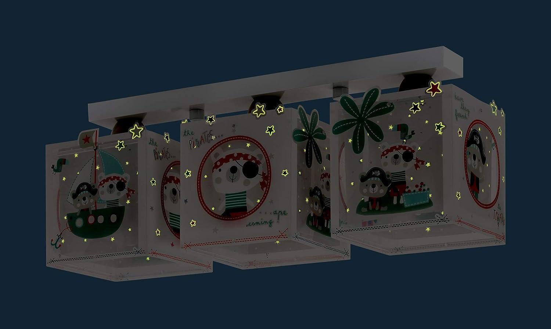 Mehrfarbig E27 1 W Plastik 50 x 14 x 20.5 cm Dalber Kinder Deckenlampe 3 Lichter The Pirates