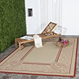 """Cheap Safavieh Courtyard Collection CY2965-3701 Natural and Red Indoor/ Outdoor Square Area Rug (7'10"""" Square)"""