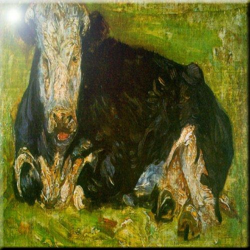 8 x 8 Rikki Knight Van Gogh Art Lying Cow Design Ceramic Art Tile
