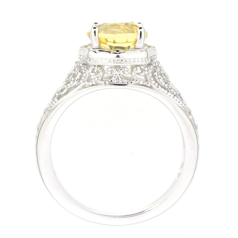Filigree Sterling Silver Round Cut Genuine Golden Yellow Citrine Statement Ring 1.8 C.T.T.W