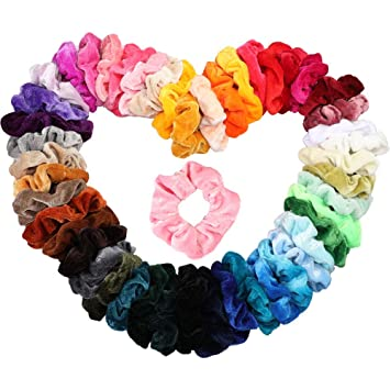 tongchinajj--50 Stück Haargummis Samt Scrunchies Haar Gummibänder Haarbänder