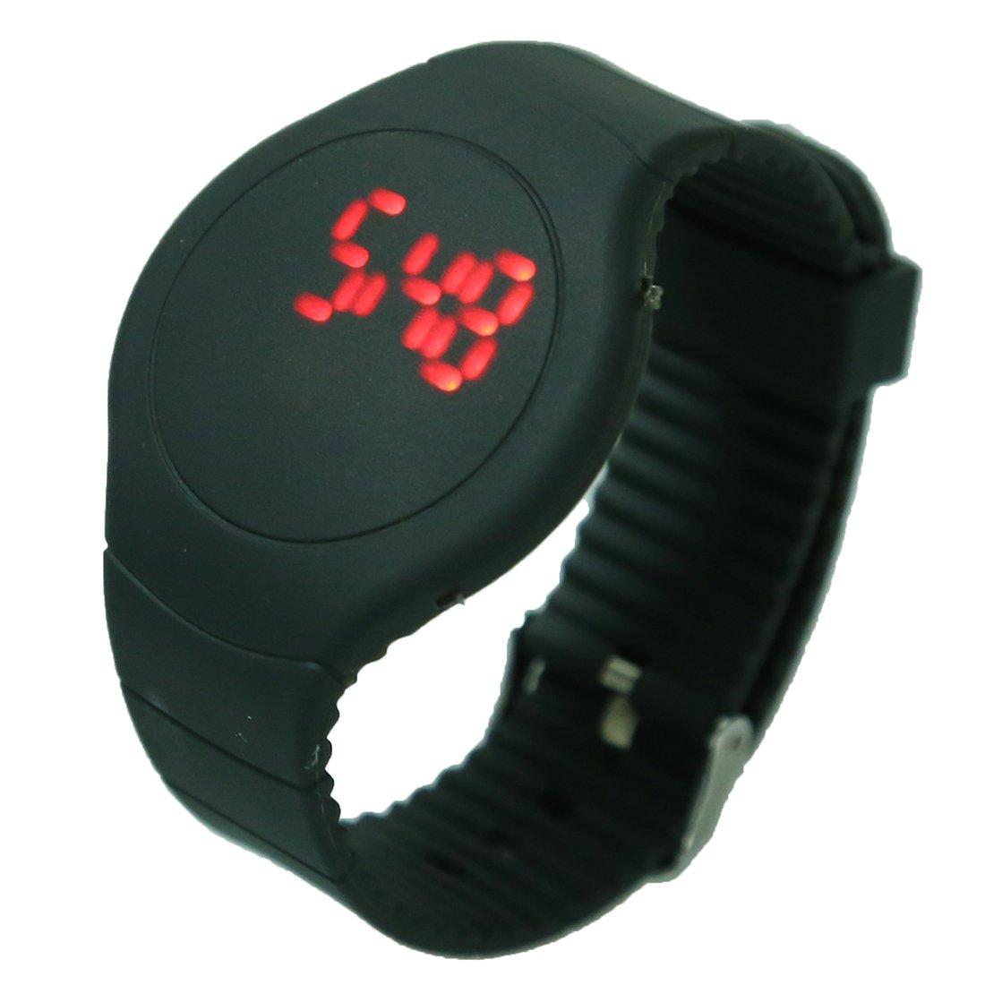 Reloj - SODIAL(R)Guapo Tacto LED Digital Reloj Reloj de pulsera con esfera redonda Negro: Amazon.es: Relojes