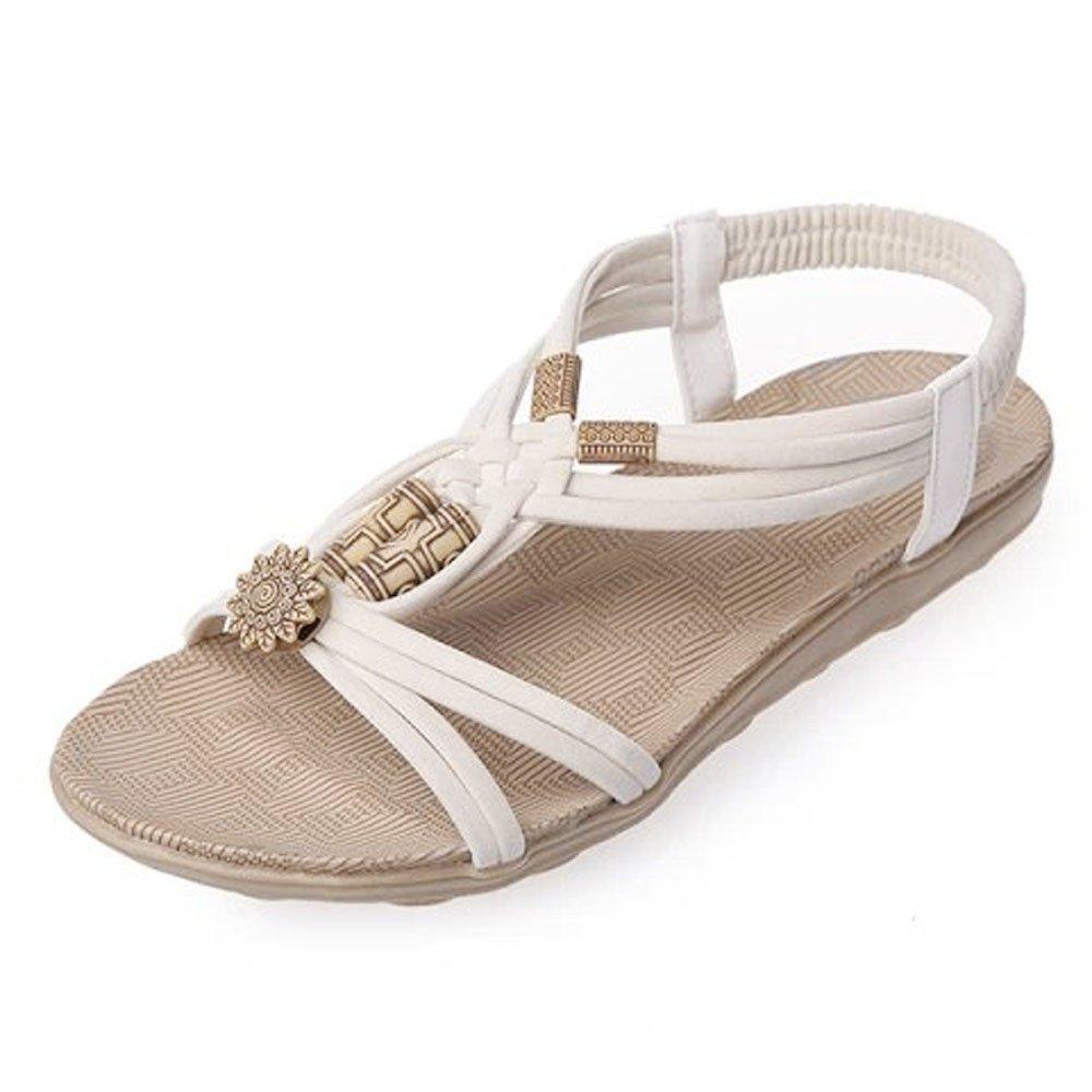 Sunyastor Women Sandals Summer Peep-Toe Roman Bohemia Beach Flip Flops Sandals Shoes Flip-Flop Sweet Beaded Sandals Beige