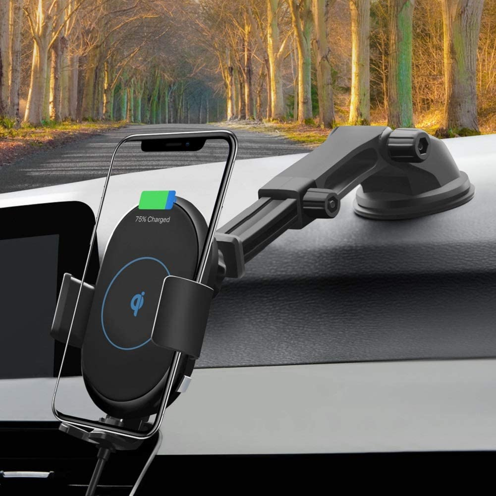 One Hand Operation Intelligent Automatic Induction QI Wireless Charger for Car