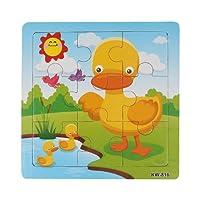 Fulltime® Jouets en bois de puzzle de canard,Jouet Éducatif pour Bébé 1-3an
