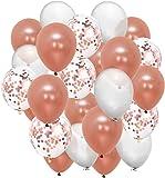Globos Oro Rosa (Rosado) Rose Gold y Blanco | Latex y Confeti Oro Rosado | Globos Decoración adornos fiesta de…