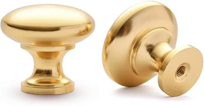 Bright Gold Drawer Pull Knobs Single Hole Alloy Cabinet Round Handles 25*20MM