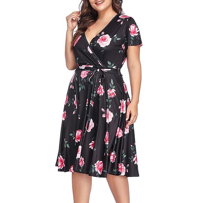 17a8e62f9f985 ORICSSON Plus Size Dress Crossed Deep V-Neck Short Sleeve Summer Casual  Midi for Women