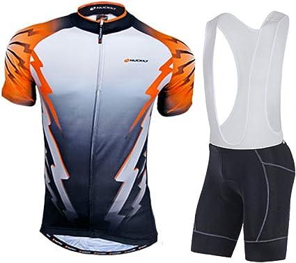 Men/'s Cycling Bib Set Long Sleeve Cycle Jersey and Padded Bib Pants Knickers Kit