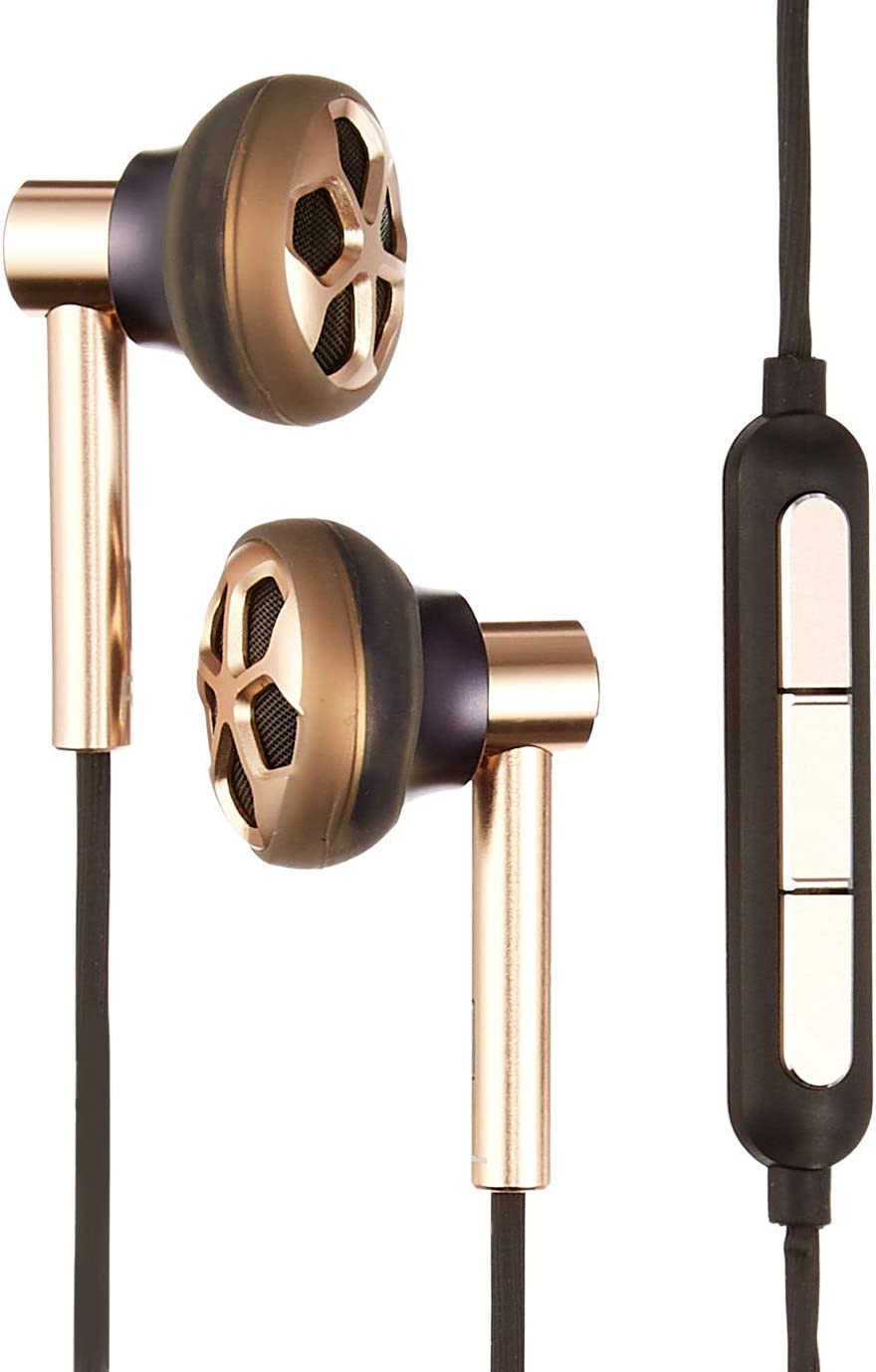 1MORE E1008 Sports Car Wheel Hub-Type Design Dual Dynamic Driver in-Ear Headphones with Microphone/Remote for Apple iOS & Android Gold