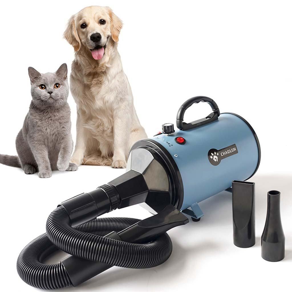 Asciugacapelli Per Animali Domestici - Pet Grooming Dryer Blaster Professional Blaster Blower Speedless 2000W Protezione Surriscaldonnato Fast Power Dry 3 Ugelli,blu