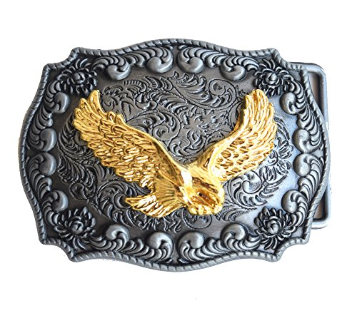 [Golden Eagle Belt Buckle Handmade Rectangle Frame Western Belt Buckle] (Handmade Buckle)