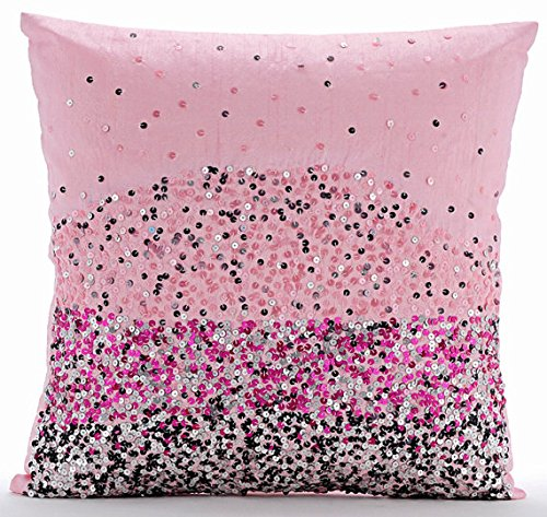 Handmade Pink Pillow Covers, Sequins Ombre Club & Lounge