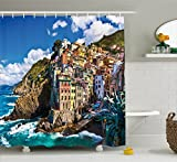Ambesonne Farm House Decor Shower Curtain, Italian Mediterranean House by Cliffs Dramatic Weather Sea Cinque Terre Print, Fabric Bathroom Decor Set with Hooks, 75 Inches Long, Multi