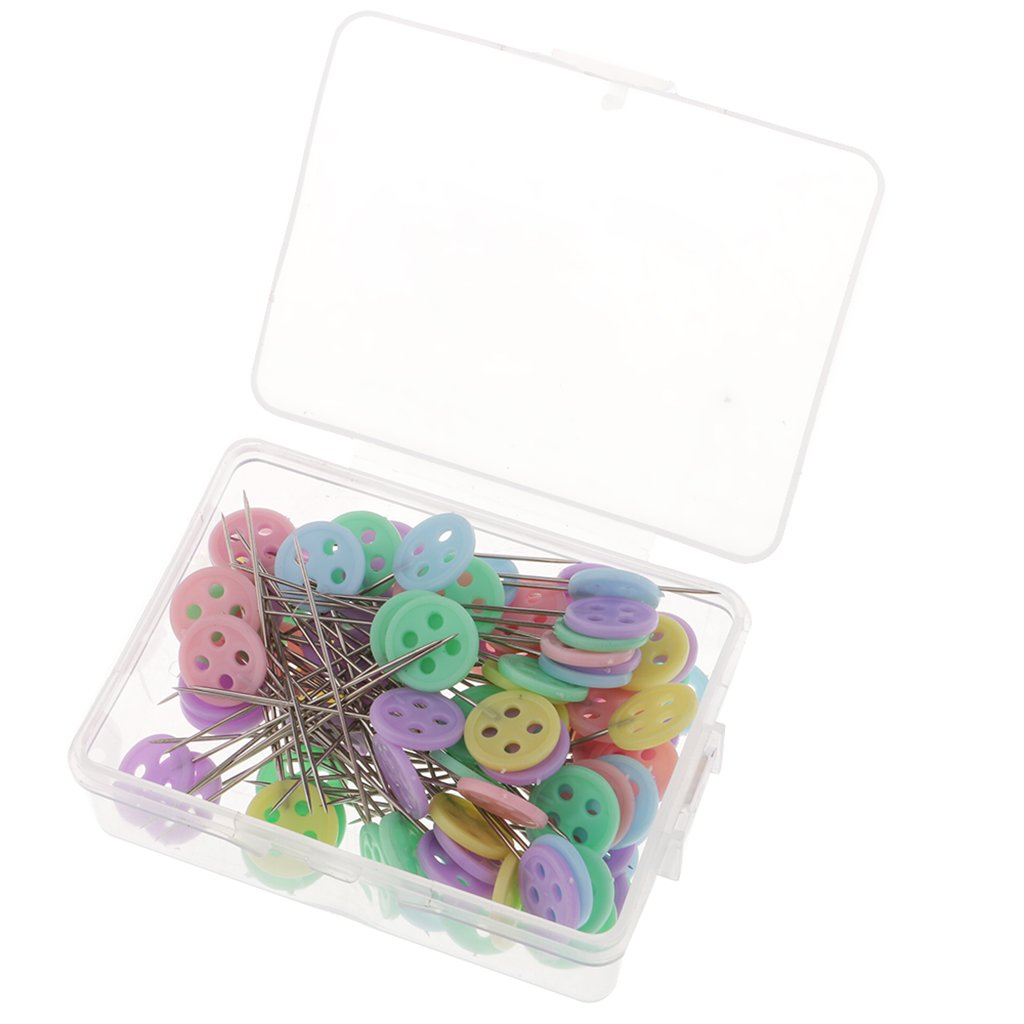 Flameer 100Pcs DIY Straight Pins Flat Button Head Pins Decorative Safety Pins Boxed For Sewing Patchwork Quilting Tools
