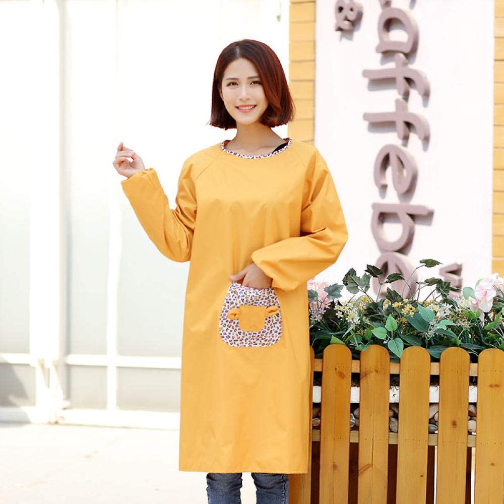 YDWL Long Sleeve Apron Womens Kitchen Cute Waterproof and Oilproof Antifouling Work Coveralls Mens Aprons-Solid color khaki