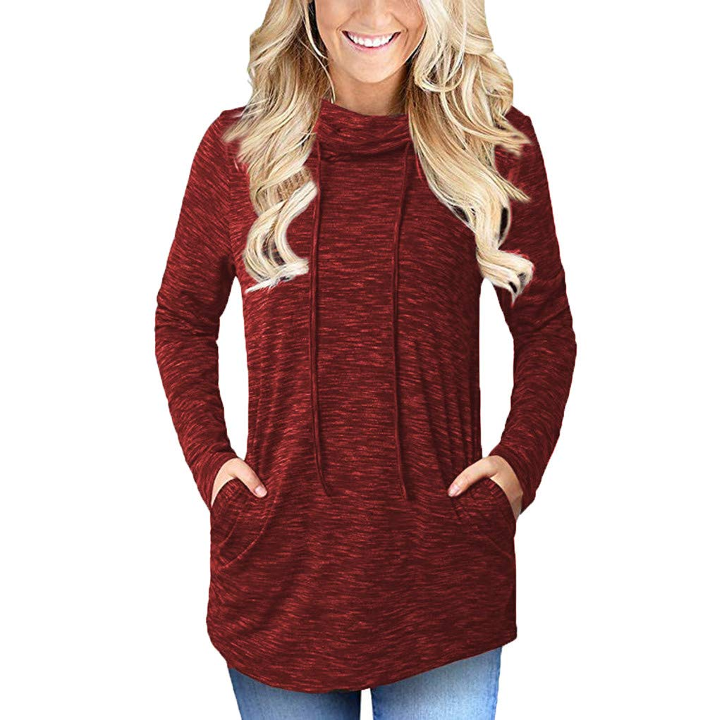 TWGONE Cowl Neck Tunic Tops For Women Pockets Long Sleeve Sweatshirt (X-Large,Red)
