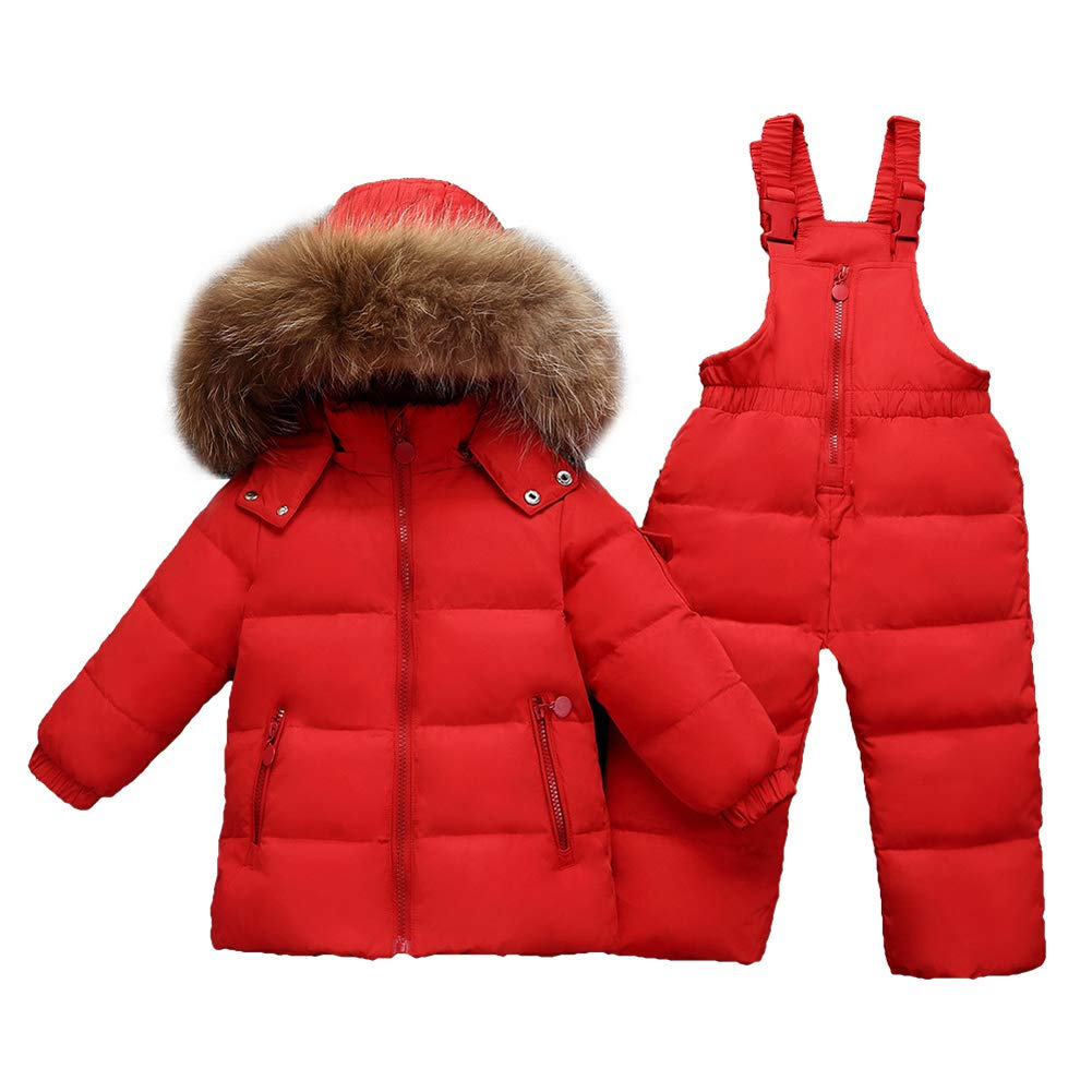 CADong Baby Girls Boys Two Piece Puffer Down Winter Warm Snowsuit Jacket with Snow Ski Bib Pants