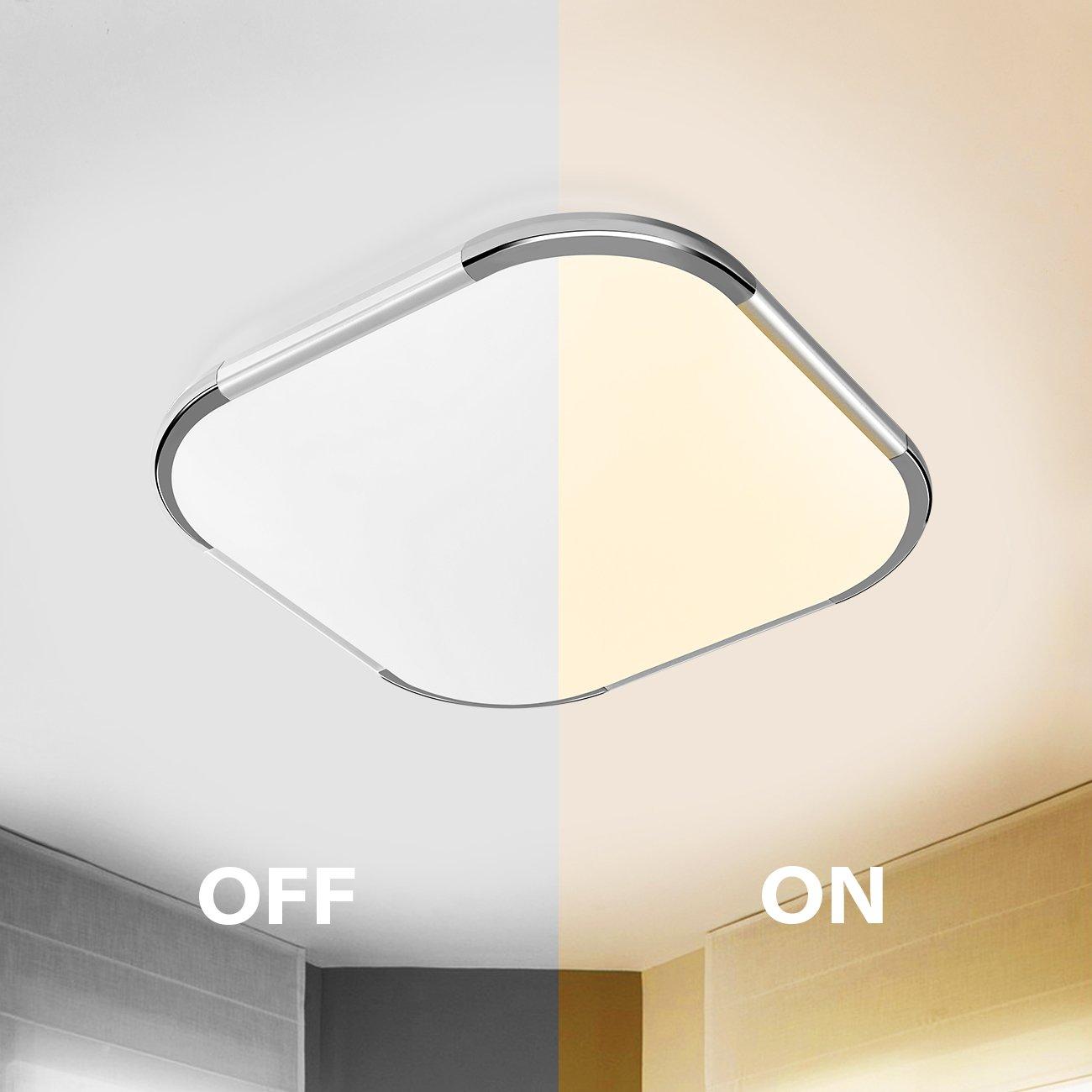 18W LED Deckenlampe Aufbau 3000K Warmweiss, 30x30 Cm Quadratisch, Panel  Lampe Für Wohnzimmer Schlafzimmer Küche Treppen Bad Flur Korridor   ANWIO:  ...