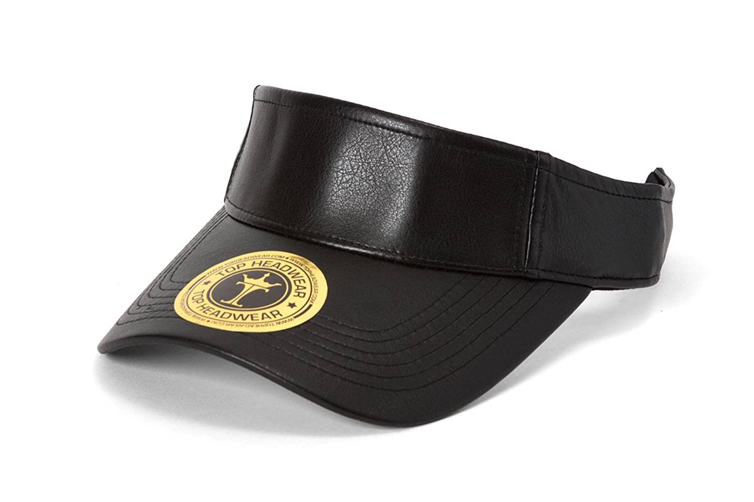 TopHeadwear Vegan Leather Adjustable Visors - Black TOP HEADWEAR