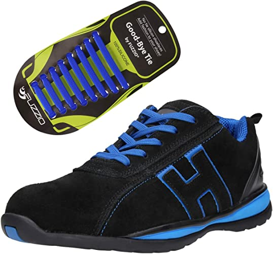 FUZZIO Zapatos de Seguridad Hombre - Calzado de Trabajo - Cordones elásticos de Silicona Que no se Atan, para Zapatillas, Color Negro, Talla 48 EU: Amazon.es: Zapatos y complementos