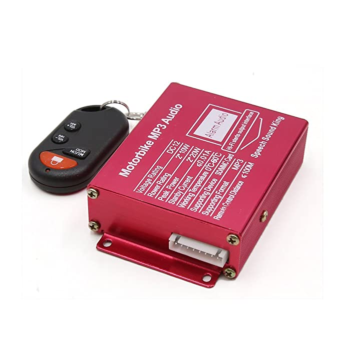Amazon.com: eDealMax 2pcs Negro motocicleta MP3 USB SD Amplificador de alarma de seguridad del altavoz de Audio estéreo DC 12V: Car Electronics