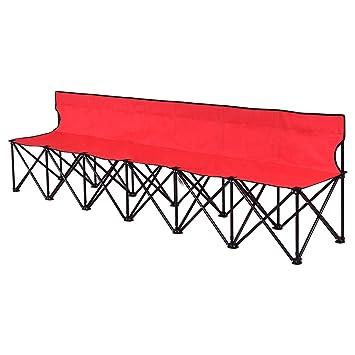 Amazon.com : Giantex Portable 6 Seats Folding Chair Bench Outdoor ...